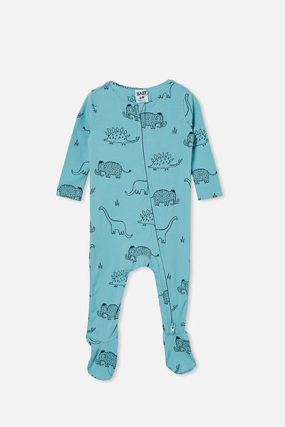 The Snug Long Sleeve Zip Romper, BLUE ICE/DINO MAMMOTH
