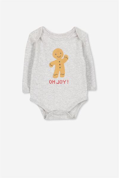 Mini Long Sleeve Bodysuit, GREY MARLE/ GINGERBREAD MAN