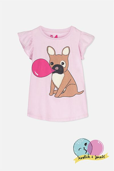 Anna Short Sleeve Flutter Tee, PINK TINT/FRENCHIE WITH GUM