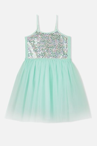 Iris Tulle Dress, MINTY SPARKLE