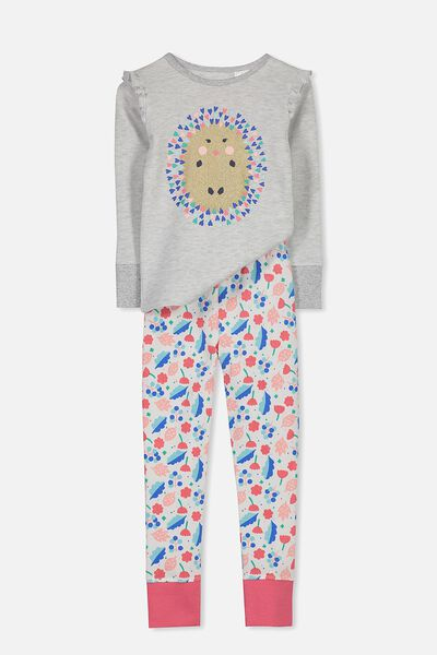 Shae Girls Long Sleeve Waffle Pyjama Set, GLITTER HEDGEHOG