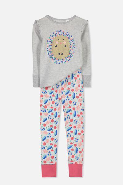Shae Girls Long Sleeve Waffle Pyjama Set, GLITTER HEDGEHOG