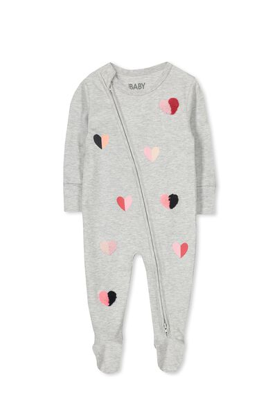Sleep Mini Zip All In One Jumpsuit, CLOUD MARLE/HEARTS