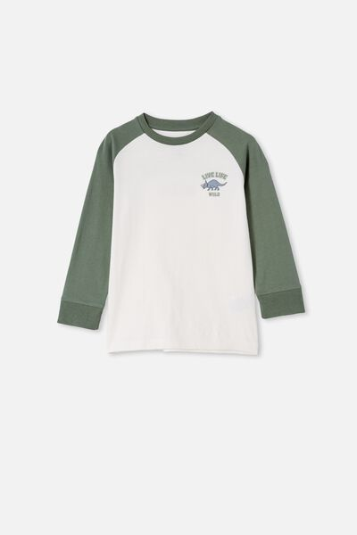 Tom Long Sleeve Raglan Tee, SWAG GREEN / DINO LIVE LIFE WILD