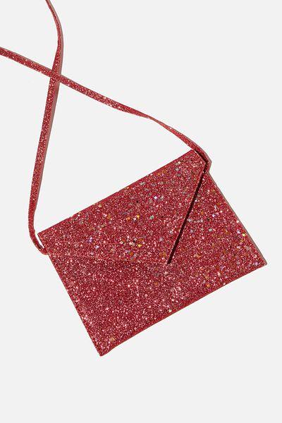 Glitter Envelope Ashley Party Bag, RED GLITTER