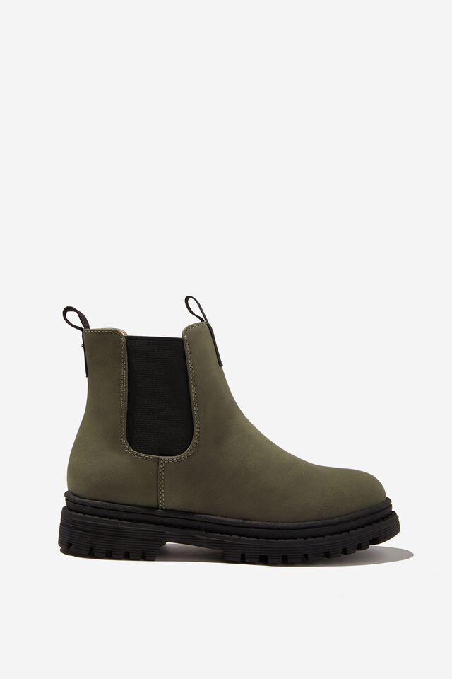 Pull On Gusset Boot, KHAKI