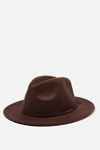 Wide Brim Hat, CHOCOLATE
