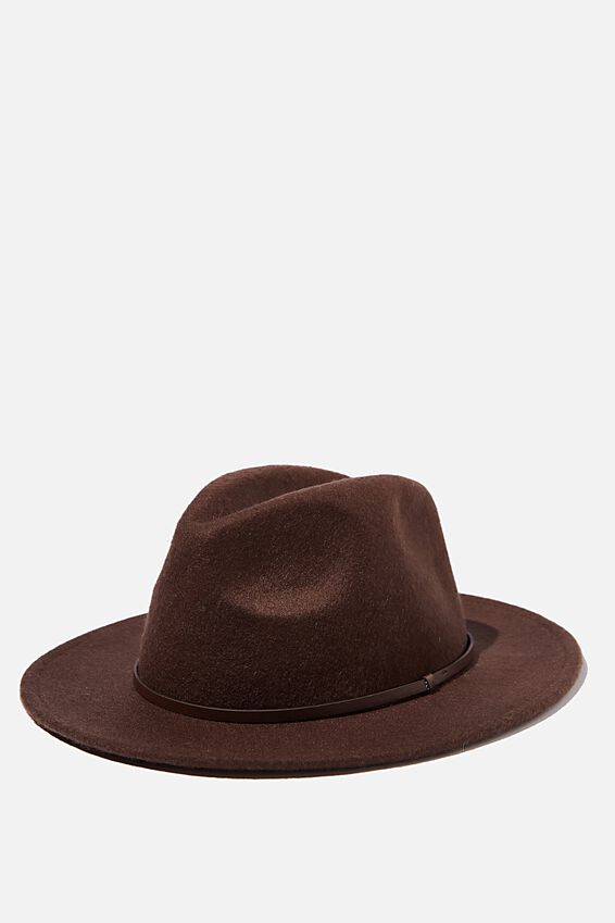 Wide Brim Hat, CHOCOLATE
