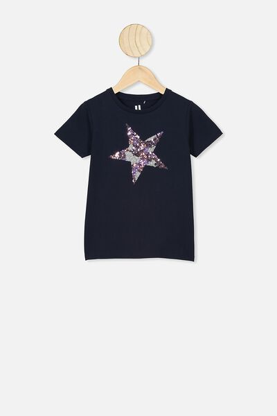 Stevie Short Sleeve Embellished Tee, NAVY BLAZER/SPARKLE STAR