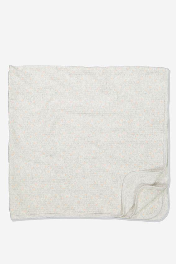 Newborn Blanket, KATE SPOT SOFT GREY MARLE/PEACH