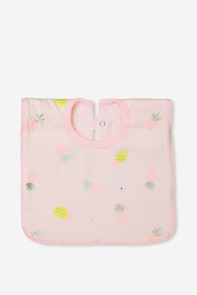 Hansel And Gretel Babies Bib, BUBBLEGUM PINK/PINEAPPLES