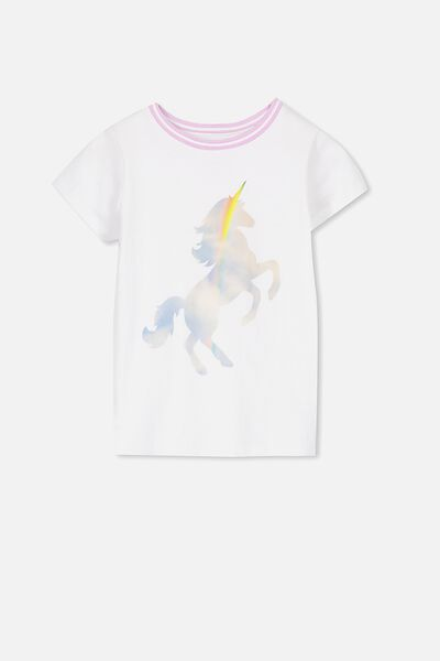 Anna Ss Tee, WHITE/RAINBOW UNICORN/SET IN