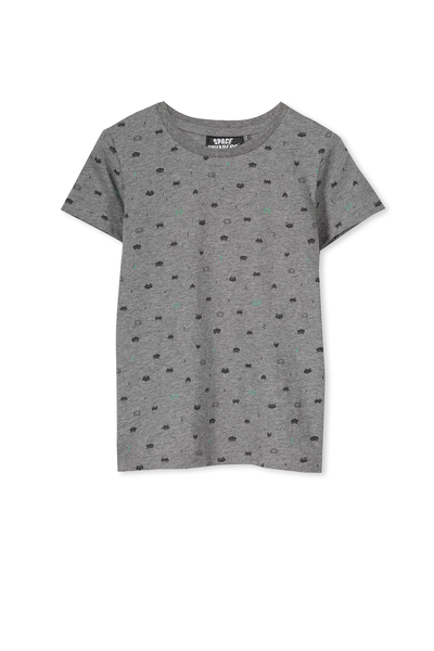 Boys Space Invaders Short Sleeve Tee, HAZE MARLE/SPACE INVADERS