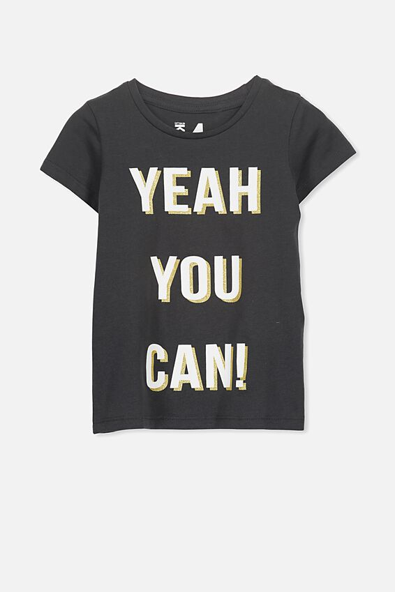 Penelope Short Sleeve Tee, PHANTOM/YEAH YOU CAN/SET IN