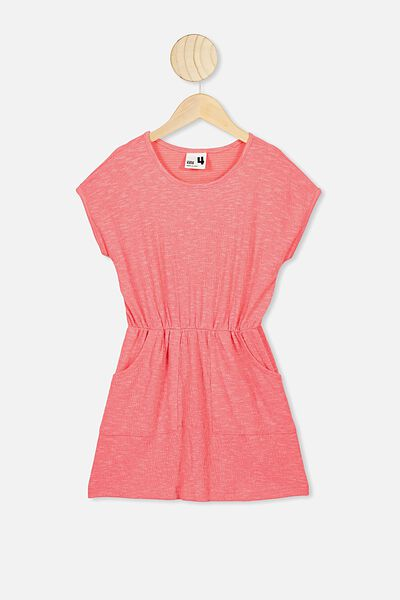 Sigrid Short Sleeve Dress, RETRO CORAL TEXTURE