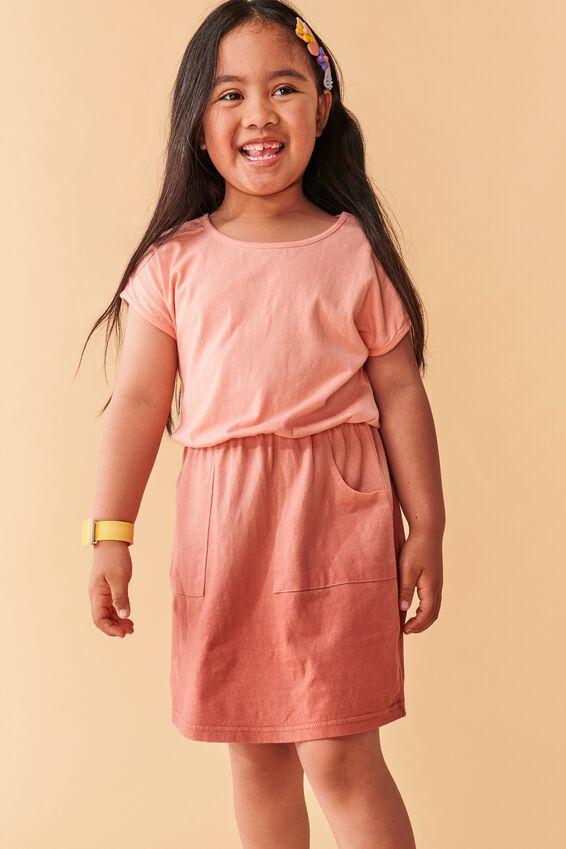 Sigrid Short Sleeve Dress, MUSK MELON/CHUTNEY DIP DYE