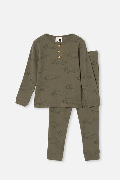 Ryan Waffle Long Sleeve Pyjama Set, DINOSAUR SWAG GREEN