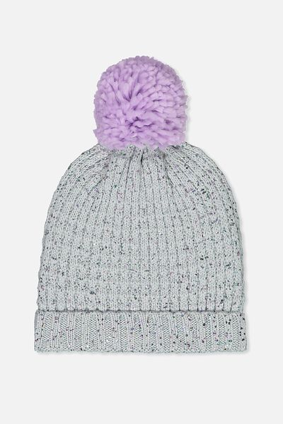 Winter Knit Beanie, LILAC METALLIC SPECK