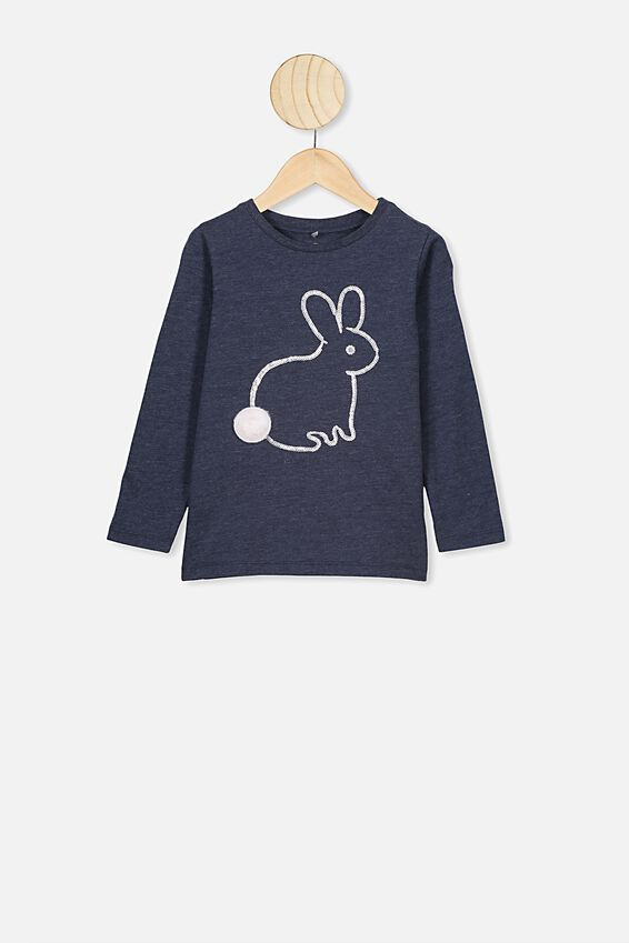 Stevie Ls Embellished Tee, INDIAN INK MARLE/FLUFFY BUNNY TAIL