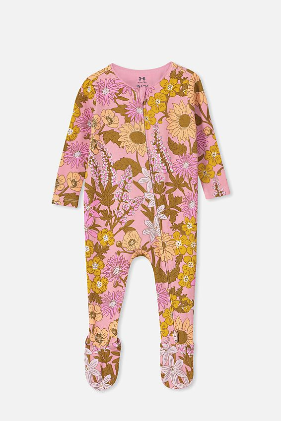 The Snug Long Sleeve Zip Romper, SWEET BLUSH/CORA FLORAL