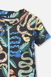 Short Sleeve Harris One Piece Swimsuit, PHANTOM/SNAKES