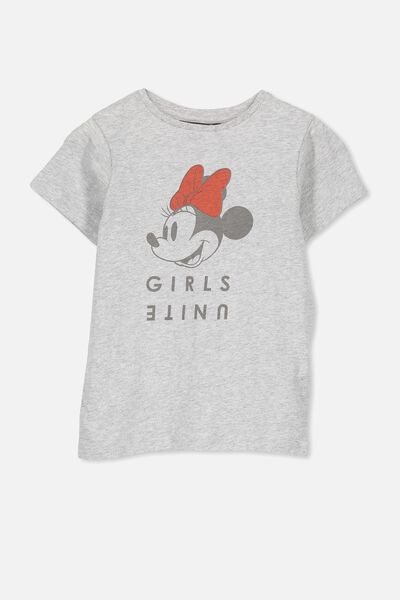 Lux Short Sleeve Tee, LIGHT GREY MARLE/MINNIE GIRLS UNITE