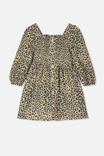 Lindsay Long Sleeve Dress, SEMOLINA/LEOPARD