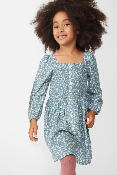 Lindsay Long Sleeve Dress, DEEP POOL BLUE/PAPERCUT FLORAL