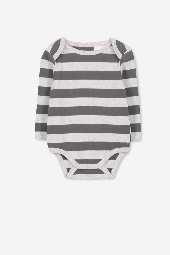 Mini Long Sleeve Bubby, CLOUD MARLE/GRAPHITE GREY STRIPE