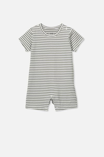 The Short Sleeve Romper, CHRIS STRIPE SILVER SAGE/WHITE