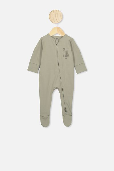 The Long Sleeve Zip Romper, LCN BR GRAPHITE GREY/SWEET CHILD O'MINE