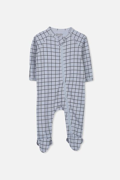 Newborn Long Sleeve Zip Through Romper, SURF WASH/INDIAN INK GRID