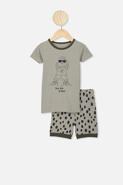 Ted Short Sleeve Pajama Set, SILVER SAGE/TOO HIP TO HOP