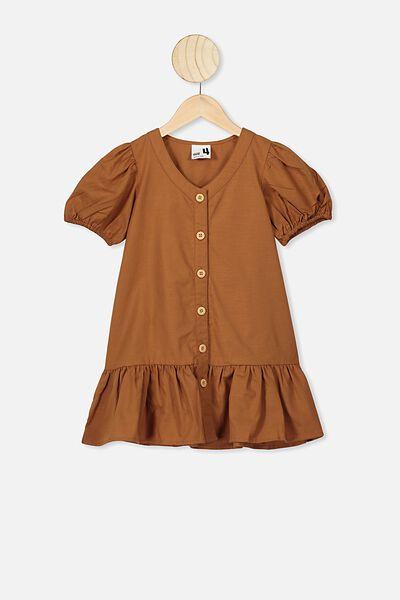 Lulu Short Sleeve Dress, CARAMEL TOFFEE