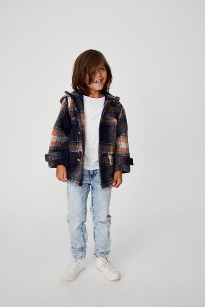 Lennon Duffle Coat, NAVY/VANILLA CHECK