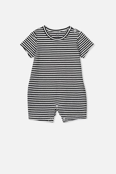 The Short Sleeve Romper, CHRIS STRIPE WHITE/BLACK