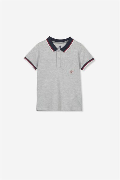 Kendricks Polo, LIGHT GREY MARLE TIPPING