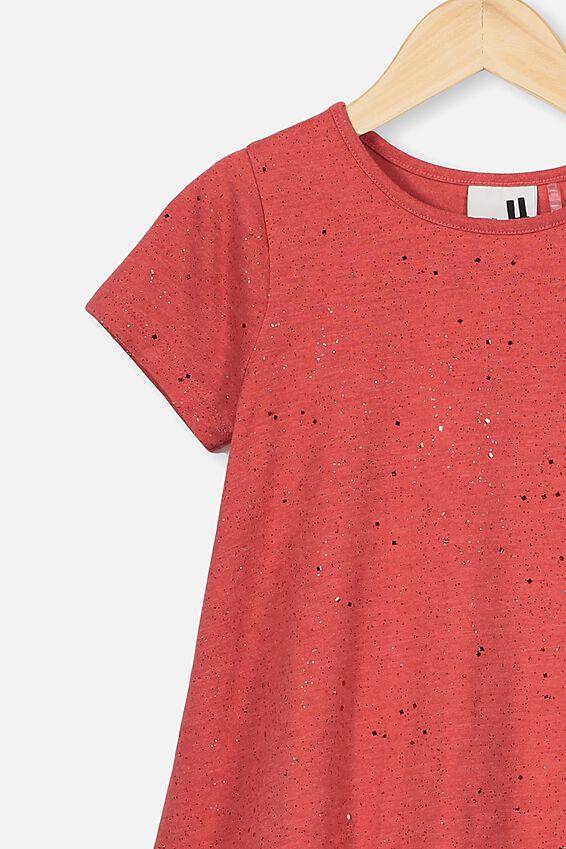 Joss Short Sleeve Dress, LUCKY RED MARLE/GALACTIC SPARKLE