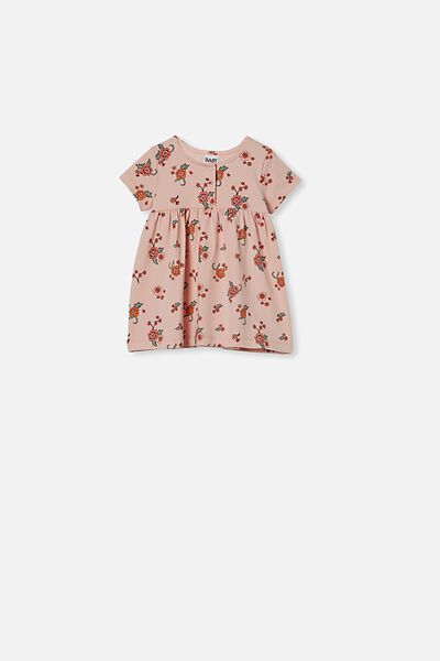 Milly Short Sleeve Dress, PEACH WHIP/TRACY FLORAL