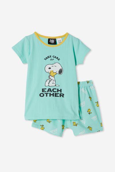 Hudson Short Sleeve Pyjama Set Licensed, LCN PEA SNOOPY TAKE CARE OF OTHERS/MINT BREEZ