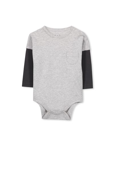 Mini Double Sleeve Bubbysuit, LT GREY MARLE/PHANTOM