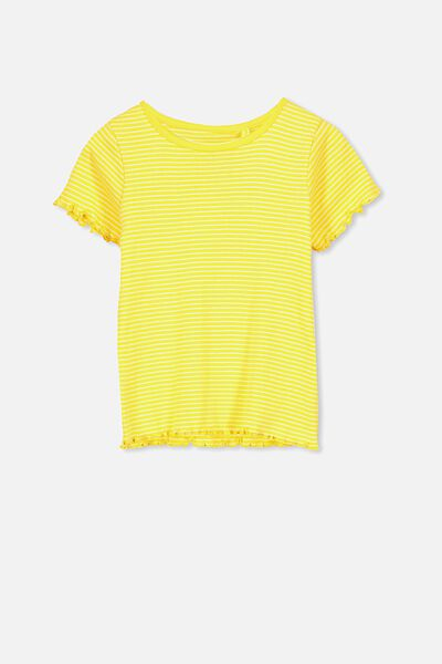 Billie Short Sleeve Tee, DUNGAREE YELLOW STRIPE