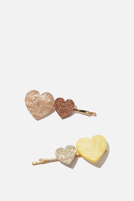Hair Clips, S GOLDY HEARTS