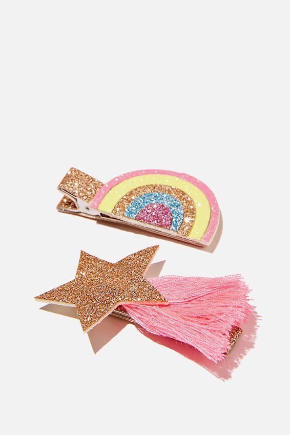 Hair Clip  - Goldy Star Rainbow, GOLDY STAR RAINBOW