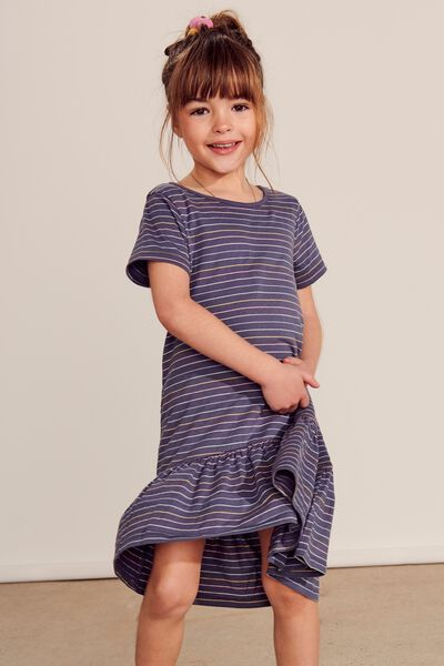 Joss Short Sleeve Dress, VINTAGE NAVY/RAINBOW STRIPE