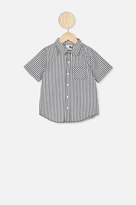 Resort Short Sleeve Shirt, NAVY/WHITE VERTICAL STRIPE