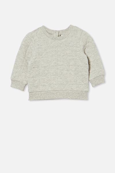 Greer Quilted Sweater, CLOUD MARLE
