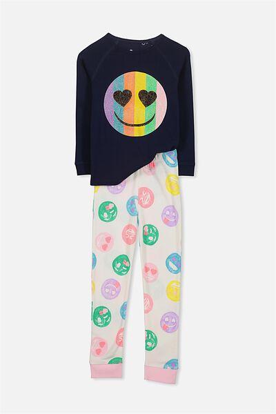 Heidi Girls Long Sleeve PJ Set, EMOJI GLITTER LOVE