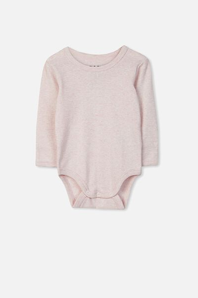 Newborn Long Sleeve Bubbysuit, BABY PINK MARLE