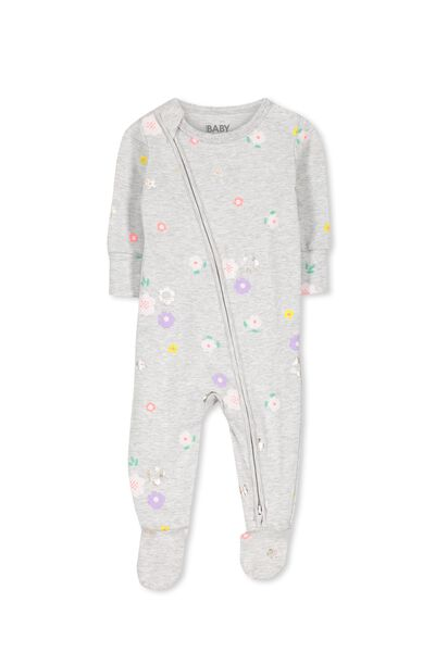 Sleep Mini Zip All In One Jumpsuit, CLOUD MARLE/FLOWER FIELD